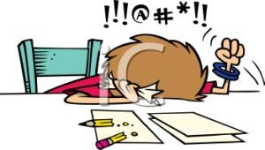 0511-1102-1012-1262_cartoon_of_a_frustrated_woman_cursing_while_doing_her_taxes_clipart_image